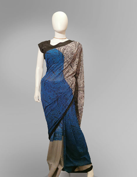 Saree in Blue Black and White with Block Print Work