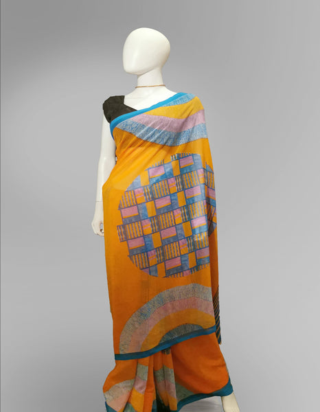 Saree in Orange with MultiColor Printed Artwork