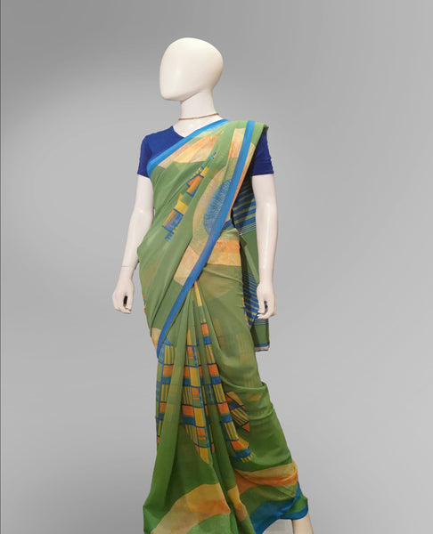 Saree in Green with MultiColor Printed Artwork