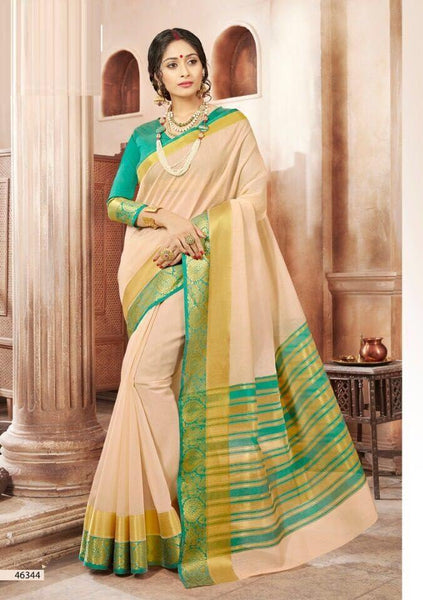 Khadi Faux Silk Saree Collection- cream - Saree Safari, Buy