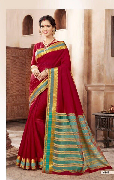 Khadi Faux Silk Saree Collection- red - Saree Safari, Buy