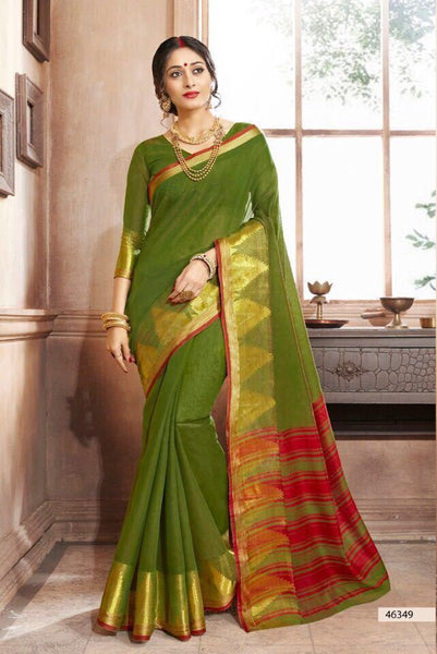 Khadi Faux Silk Saree Collection- olive - Saree Safari, Buy