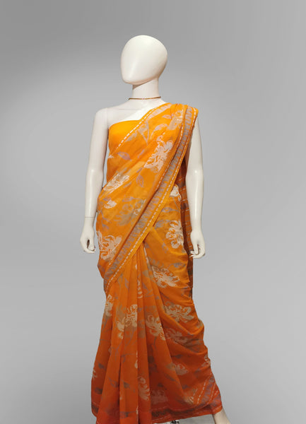 Saree in Orange Blend With Silver Floral Print - IFX