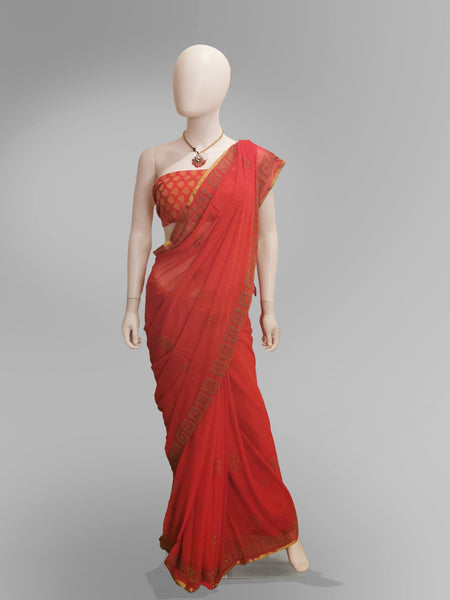 Saree in Fiery Red With Subtle Golden Embroidery - IFX