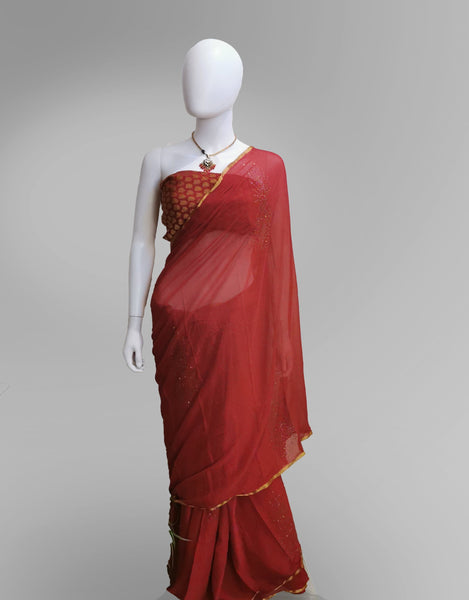 Saree in Crimson Red With Subtle Golden Embroidery - IFX