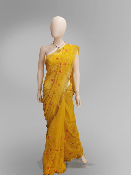 Saree in Yellow With Accent Pink Floral Design