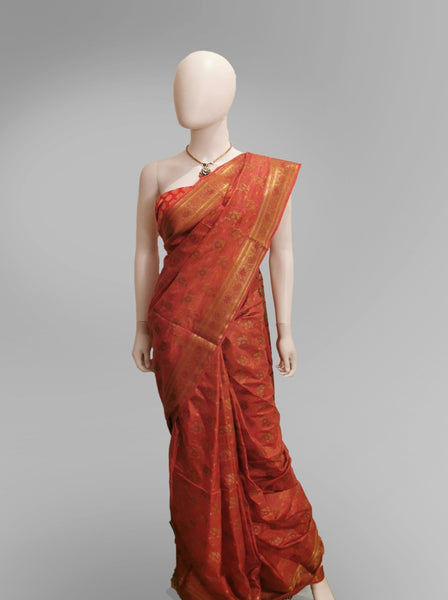 Saree in Chili Red Silk with Traditional Embroidery Work