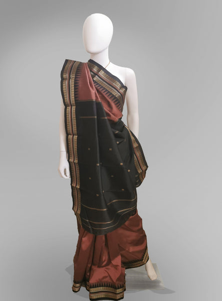 Saree in Rustic Orange Silk with Traditional Golden Embroidery - IFX