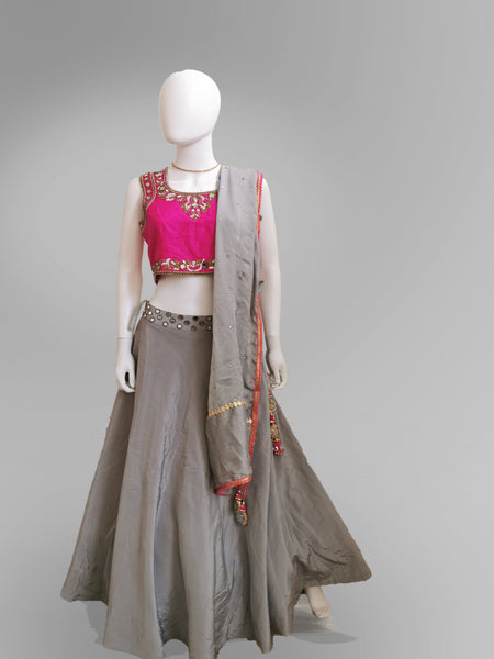 Lehenga in Light Gray and Pink in Mirror and Embroidered Motif