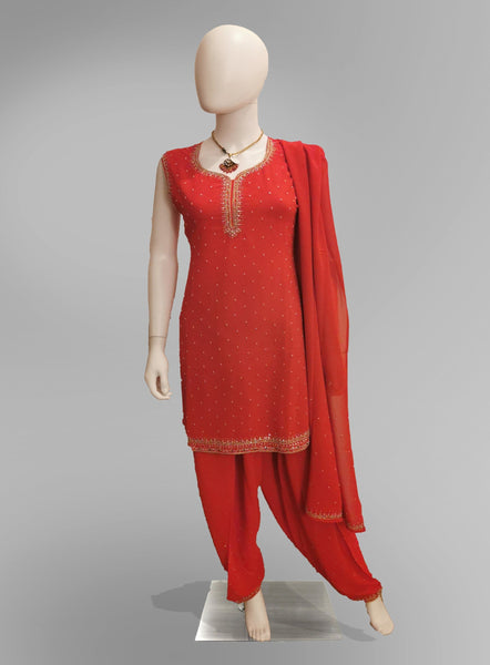 Salwar-Kameez in Tomato Red Crepe with Light Gold Embroidery
