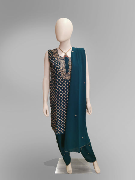 Salwar-Kameez in Pine Green with Heavy Gold Embroidery Work