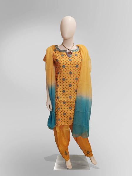 Salwar-Kameez in Yellow and Teal Blend Embroidery Work