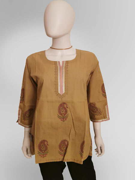3/4 Sleeve Kurti Top in Beige Tan with Henna Inspired Embroidery - IFX