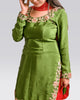 the satin silk saree in a sea green blend - Saree Safari, Rental