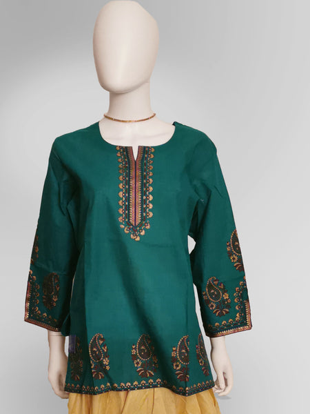 3/4 Sleeve Kurti Top in Forest Green with Henna Inspired Embroidery - IFX