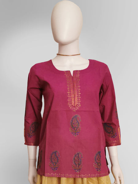 Sleeve Kurti Top in Magenta Pink with Henna Inspired Embroidery - IFX