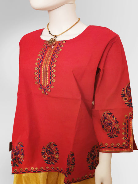 3/4 Sleeve Kurti Top in Tomato Red with Henna Inspired Embroidery