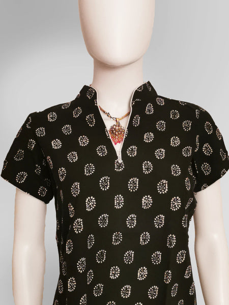 Short Sleeve Kurti Top in Black with Gold Print Design - IFX