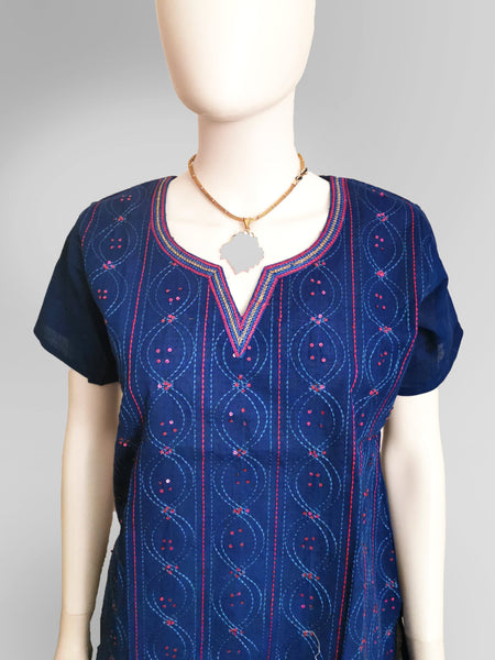 Short Sleeve Kurti Top in Deep Blue and Pink with Multi-Color Embroidery