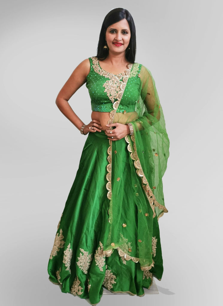 Lehenga in Green Satin Silk with Golden Floral Embroidery