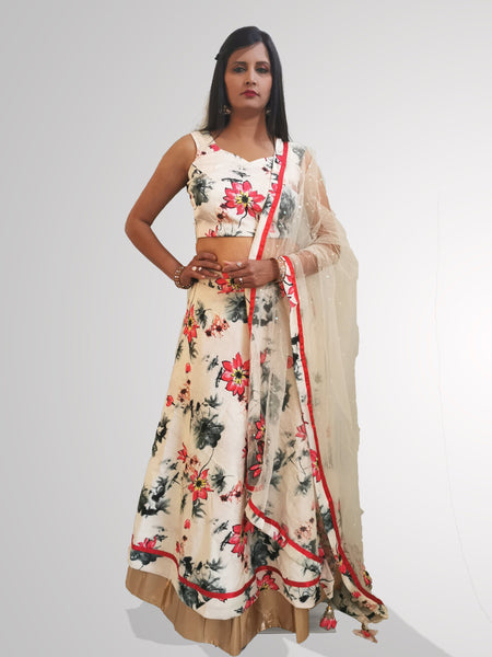 Lehenga in Cream with Oriental Floral Design over Silk Skirt - IFX