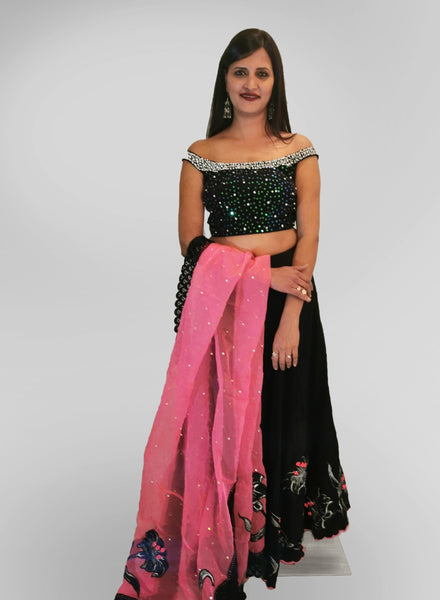 Lehenga in Black and Pink with Sequin Top