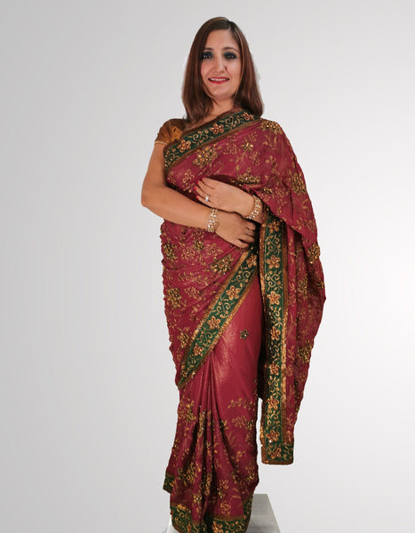 Saree in Smooth Shimmering Purple Silk with Green Border Trim - IFX