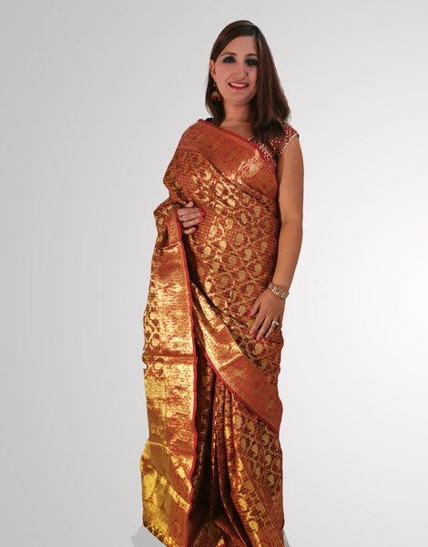 Saree in Orange Tissue Organza Silk - IFX