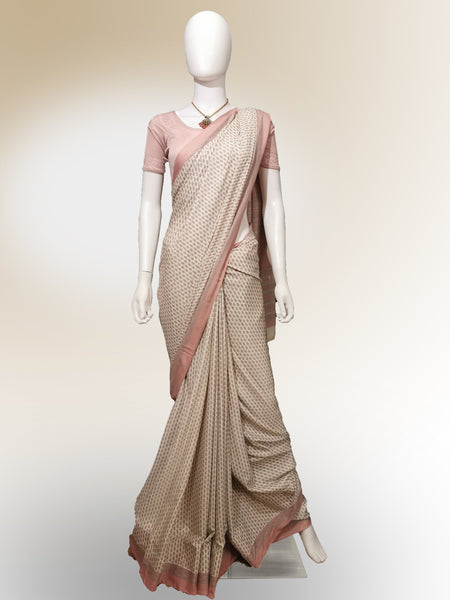 Saree in Salmon Pink with Traditional Print