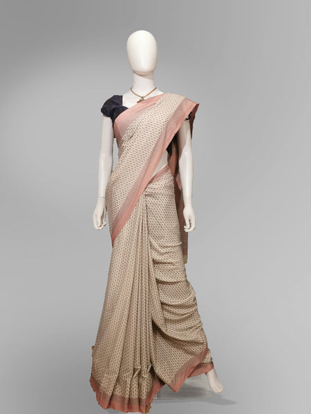 Saree in Salmon Pink with Traditional Print - IFX
