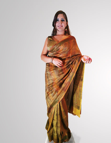 Saree in Soft Earthy Toned Tissue Silk with Gradient Design