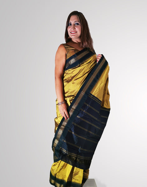 Saree in Glossy Yellow Pure Silk with Tample border