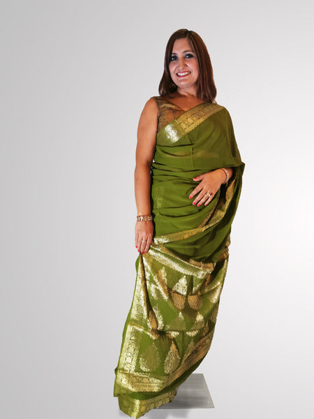 Saree in Olive Green with Gold Self Printed Zari Border