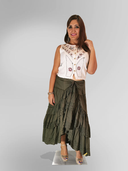 Sleeveless Blouse Top in White with Olive Green Skirt