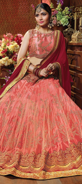 Pink and Manjanta Net Lehenga - Saree Safari, Buy