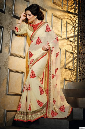 Pure georgette cream and red combination wedding saree - Saree Safari, Buy