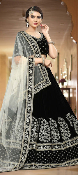 Black and grey lehenga embellished in zari and sequin embroidery - Saree Safari, Buy