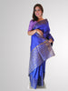 Saree in Blue Shine Tussar Silk with Gold Border Work