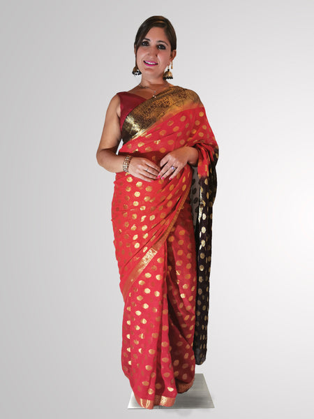 Saree in Red and Brown Banarsi Georgette with Polka Dot and Zari