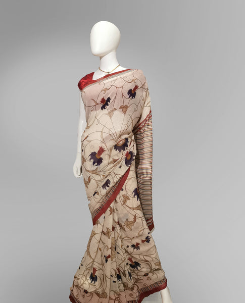 Saree in Abalone Cream with Floral Print - IFX