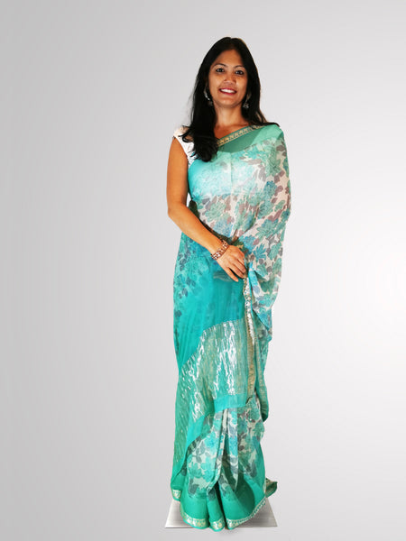 Saree in Aqua Turquoise and Gray in Floral Printed Chiffon