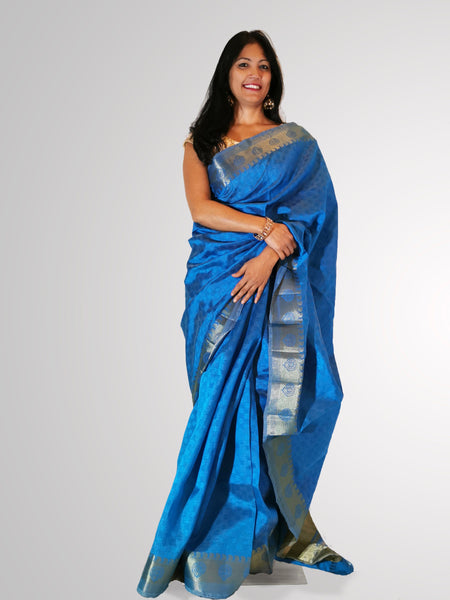 Saree in Blue Banarsi Silk with Self Print and Zari Border Trim - IFX