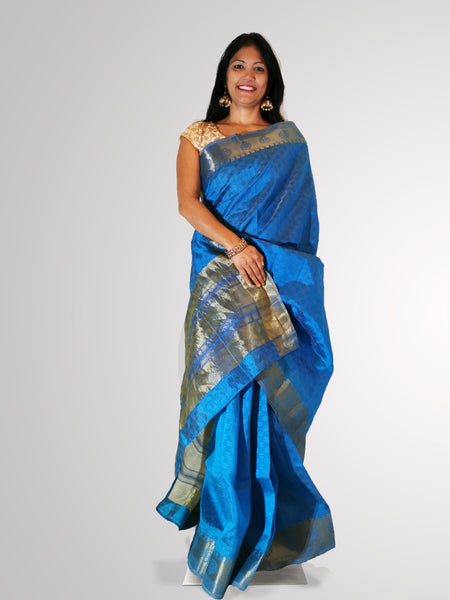 Saree in Blue Banarsi Silk with Self Print and Zari Border Trim