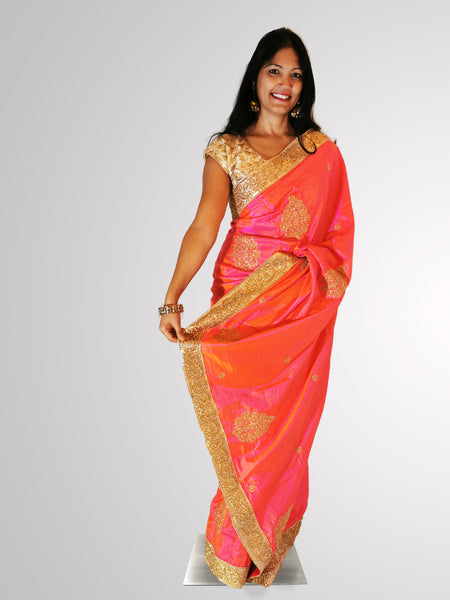 Saree in Shimmering Pink Silk with Zari Booties All Over
