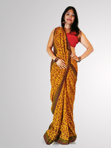 Saree in Pure Georgette with Yellow Mustard and Burgundy Red Self Print