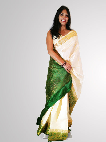 Saree in White Satin Silk with Green and Gold Border Trim