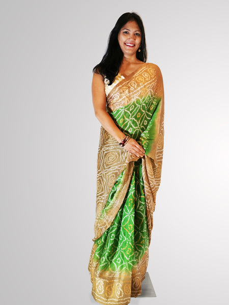 Saree in Green and Tan Bandini Silk with Self Printed Design