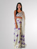Saree in White and Black Polka Dot Print with Floral Theme