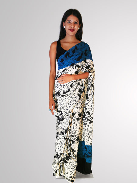 Saree in Black and White Print Silk with Accented Blue
