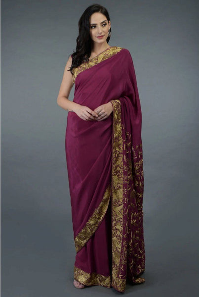 Saree in Raspberry Purple Gold Trim Featured in Pure Crepe Silk